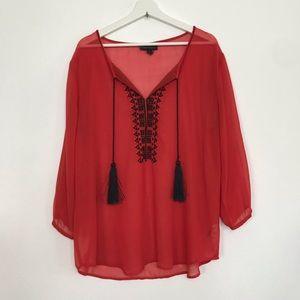 Buffalo M  sheer embroidered tassel blouse